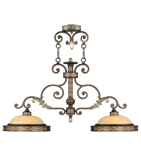 Livex Lighting Seville 2 Light Island Light in Palacial Bronze with Gilded Accents 8522-64 photo