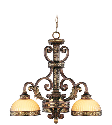 Livex Lighting Seville 3 Light Chandelier in Palacial Bronze with Gilded Accents 8523-64 photo
