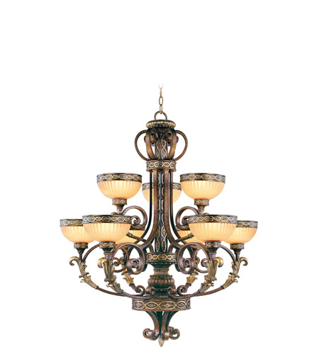 Livex 8529-64 Seville 9 Light 34 inch Palacial Bronze with Gilded Accents Chandelier Ceiling Light photo