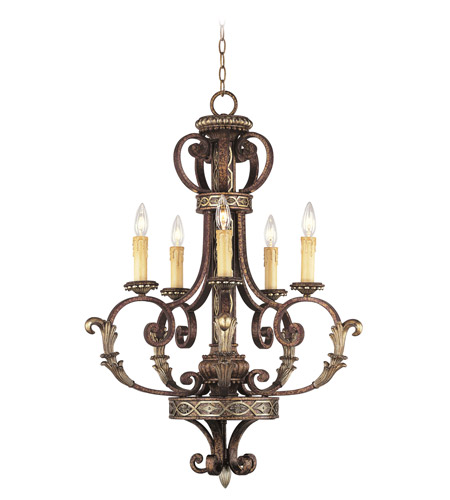 Livex Lighting Seville 5 Light Chandelier in Palacial Bronze with Gilded Accents 8535-64 photo