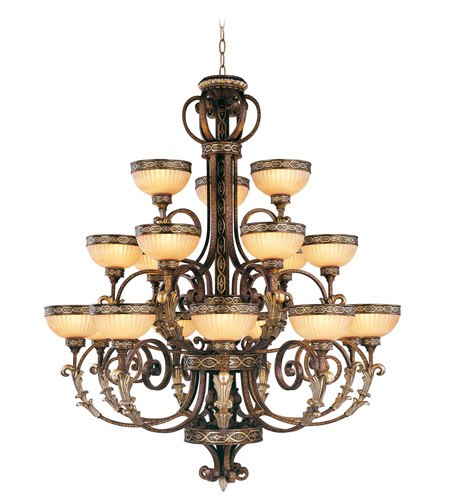 Seville 18 Light 44 Inch Palacial Bronze With Gilded Accents Chandelier Ceiling