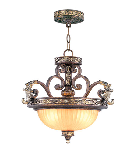 Livex Lighting Seville 2 Light Pendant/Ceiling Mount in Palacial Bronze with Gilded Accents 8544-64 photo
