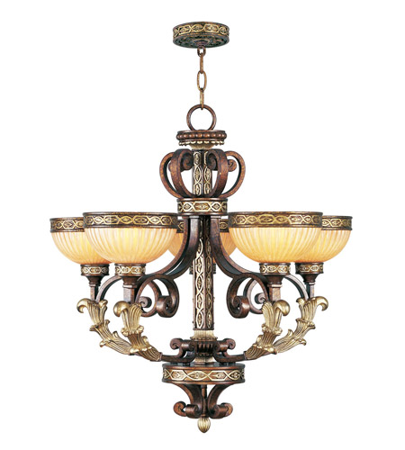 Livex Lighting Seville 5 Light Chandelier in Palacial Bronze with Gilded Accents 8545-64 photo