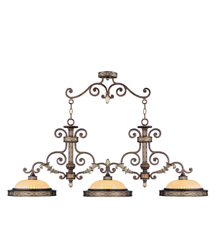 Livex 8546-64 Seville 3 Light 53 inch Palacial Bronze with Gilded Accents Island Light Ceiling Light photo