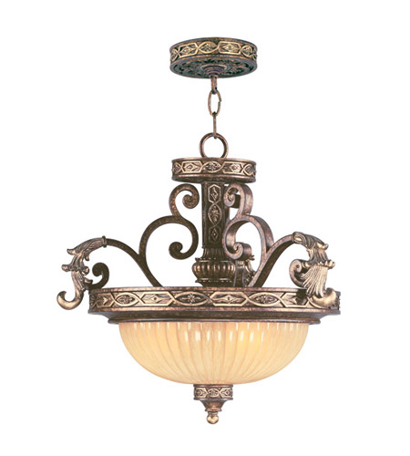 Livex 8547-64 Seville 3 Light 19 inch Palacial Bronze with Gilded Accents Pendant/Ceiling Mount Ceiling Light photo