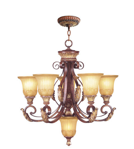 Livex 8555-63 Villa Verona 6 Light 26 inch Verona Bronze with Aged Gold Leaf Accents Chandelier Ceiling Light  photo