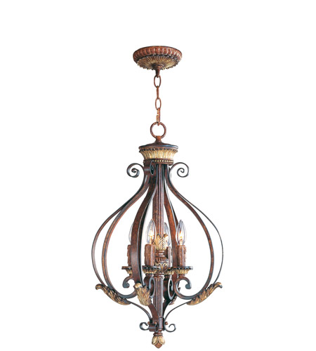 Livex 8556-63 Villa Verona 4 Light 16 inch Verona Bronze with Aged Gold Leaf Accents Foyer Pendant Ceiling Light photo