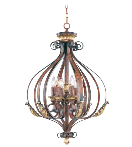 Livex 8557-63 Villa Verona 6 Light 24 inch Verona Bronze with Aged Gold Leaf Accents Foyer Pendant Ceiling Light photo
