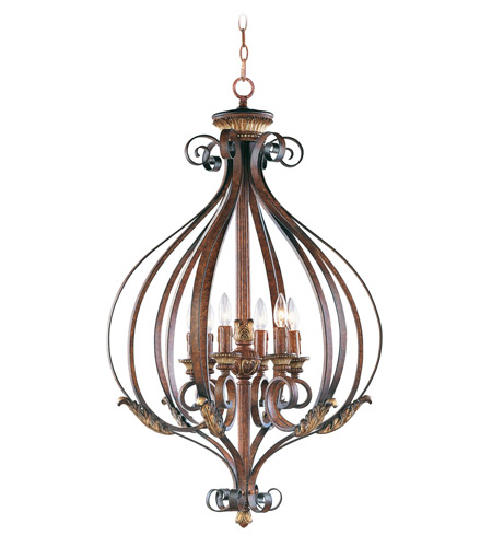 Livex Lighting Villa Verona 6 Light Foyer Pendant in Verona Bronze with Aged Gold Leaf Accents 8558-63 photo