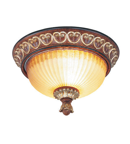 Livex Lighting Villa Verona 2 Light Ceiling Mount in Verona Bronze with Aged Gold Leaf Accents 8562-63 photo