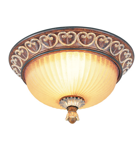 Livex Lighting Villa Verona 2 Light Ceiling Mount in Verona Bronze with Aged Gold Leaf Accents 8563-63 photo