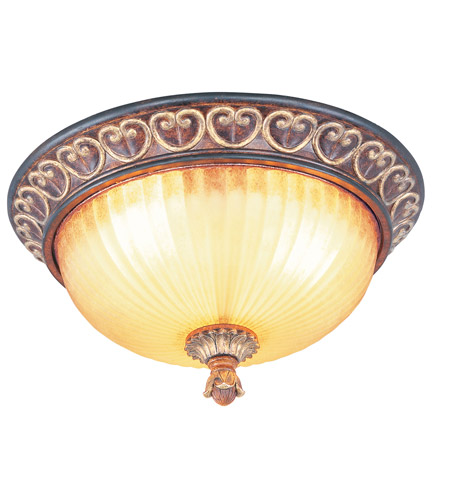 Livex Lighting Villa Verona 3 Light Ceiling Mount in Verona Bronze with Aged Gold Leaf Accents 8564-63 photo