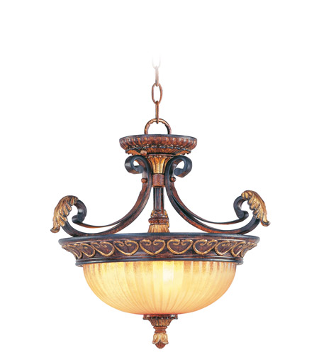 Livex 8565-63 Villa Verona 3 Light 17 inch Verona Bronze with Aged Gold Leaf Accents Pendant/Ceiling Mount Ceiling Light photo