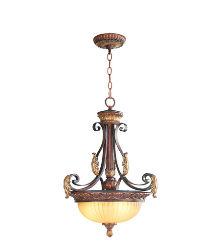Livex 8567-63 Villa Verona 3 Light 19 inch Verona Bronze with Aged Gold Leaf Accents Inverted Pendant Ceiling Light photo