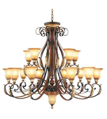 Livex Lighting Villa Verona 15 Light Chandelier in Verona Bronze with Aged Gold Leaf Accents 8568-63 photo