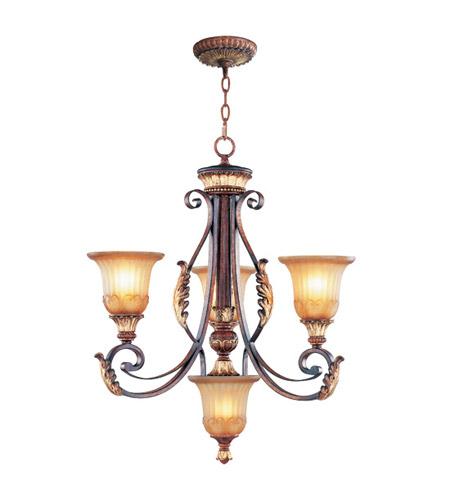 Livex 8574-63 Villa Verona 4 Light 24 inch Verona Bronze with Aged Gold Leaf Accents Chandelier Ceiling Light photo