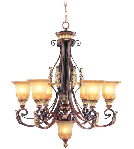 Livex 8576-63 Villa Verona 7 Light 30 inch Verona Bronze with Aged Gold Leaf Accents Chandelier Ceiling Light photo
