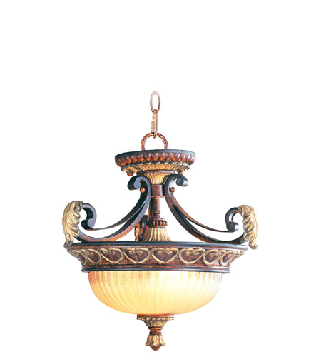 Livex 8577-63 Villa Verona 2 Light 15 inch Verona Bronze with Aged Gold Leaf Accents Pendant/Ceiling Mount Ceiling Light photo