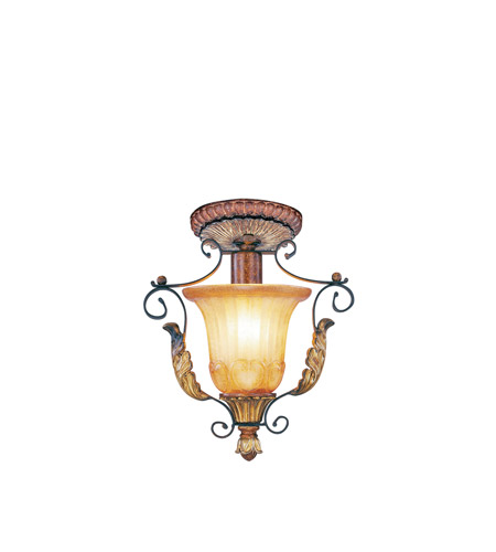 Livex Lighting Villa Verona 1 Light Ceiling Mount in Verona Bronze with Aged Gold Leaf Accents 8578-63 photo