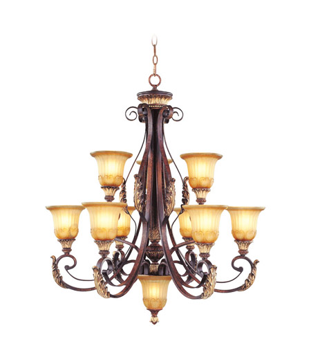 Livex 8579-63 Villa Verona 10 Light 33 inch Verona Bronze with Aged Gold Leaf Accents Chandelier Ceiling Light photo
