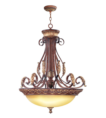 Livex 8587-63 Villa Verona 4 Light 31 inch Verona Bronze with Aged Gold Leaf Accents Inverted Pendant Ceiling Light photo