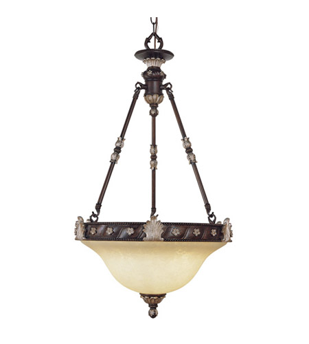 Livex Lighting Sovereign 3 Light Inverted Pendant in Hand Rubbed Bronze with Antique Silver Accents 8604-40 photo