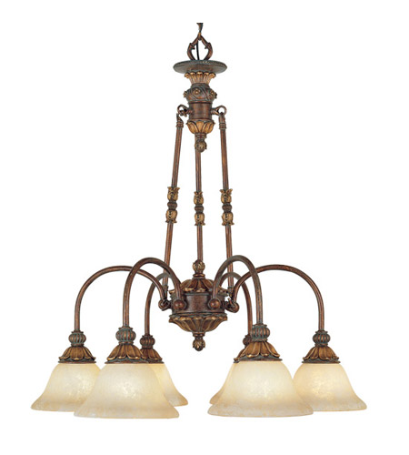 Livex 8605-30 Sovereign 6 Light 27 inch Crackled Greek Bronze with Aged Gold Accents Chandelier Ceiling Light photo