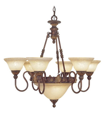 Livex Sovereign 8 Light Chandelier in Crackled Greek Bronze with Aged Gold Accents 8606-30 photo