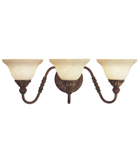Livex Lighting Sovereign 3 Light Bath Light in Crackled Greek Bronze with Aged Gold Accents 8613-30 photo