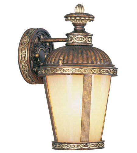 Livex 8630-64 Seville 1 Light 13 inch Palacial Bronze with Gilded Accents Outdoor Wall Lantern photo