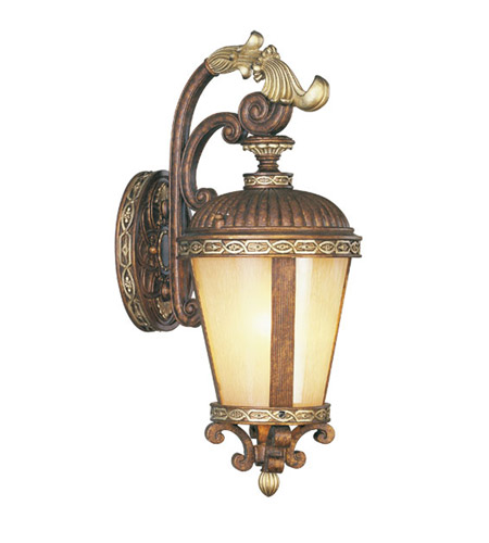 Livex Lighting Seville 1 Light Outdoor Wall Lantern in Palacial Bronze with Gilded Accents 8631-64 photo