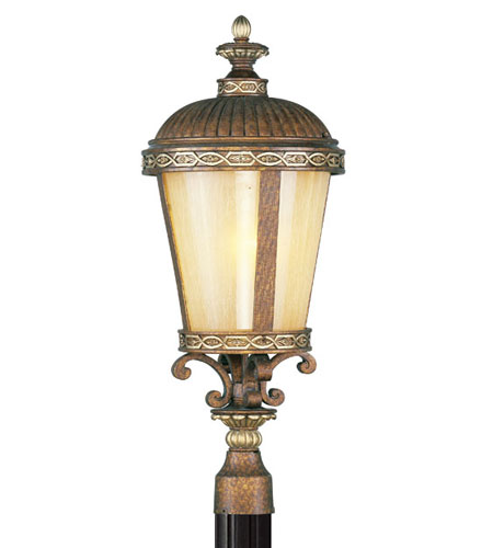 Livex Lighting Seville 1 Light Outdoor Post Head in Palacial Bronze with Gilded Accents 8634-64 photo