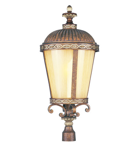 Livex Lighting Seville 1 Light Outdoor Post Head in Palacial Bronze with Gilded Accents 8636-64 photo