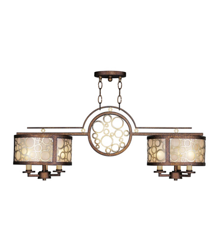 Livex Lighting Avalon 6 Light Billiard/Island in Palacial Bronze with Gilded Accents 8672-64 photo