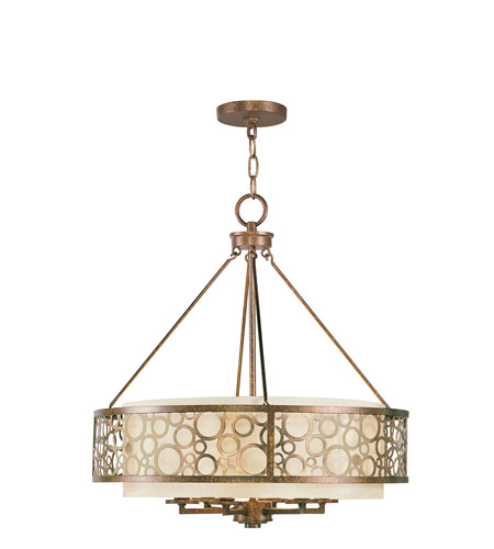 Livex 8676-64 Avalon 6 Light 22 inch Palacial Bronze with Gilded Accents Chandelier Ceiling Light photo