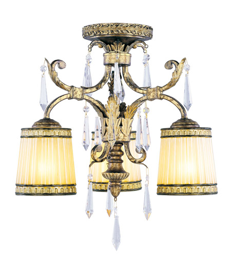 Livex Lighting La Bella 3 Light Ceiling Mount in Vintage Gold Leaf 8804-65 photo