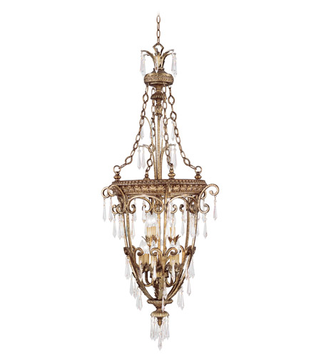Livex Lighting La Bella 9 Light Foyer Pendant in Vintage Gold Leaf 8816-65 photo
