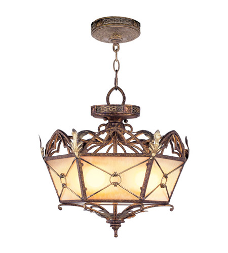 Livex 8824-64 Bristol Manor 3 Light 18 inch Palacial Bronze with Gilded Accents Pendant/Ceiling Mount Ceiling Light photo