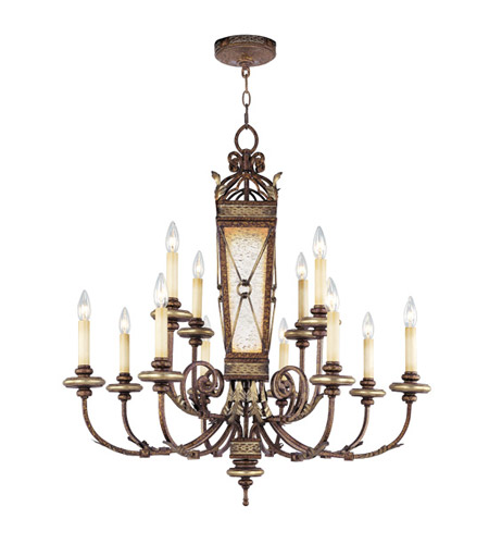 Livex Lighting Bristol Manor 12 Light Chandelier in Palacial Bronze with Gilded Accents 8829-64 photo