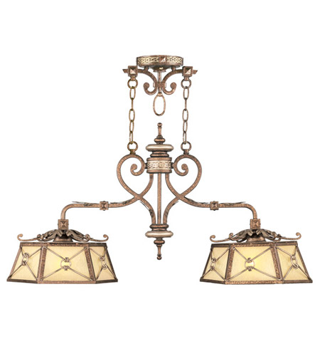 Livex 8832-64 Bristol Manor 2 Light 38 inch Palacial Bronze with Gilded Accents Island Light Ceiling Light photo