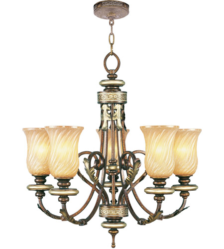 Livex 8835-64 Bristol Manor 5 Light 26 inch Palacial Bronze with Gilded Accents Chandelier Ceiling Light photo