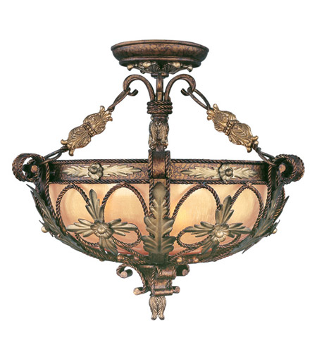 Livex Lighting Pomplano 3 Light Pendant/Ceiling Mount in Palacial Bronze with Gilded Accents 8843-64 photo