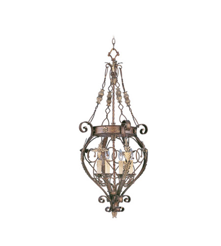 Livex 8847-64 Pomplano 4 Light 18 inch Palacial Bronze with Gilded Accents Foyer Pendant Ceiling Light photo