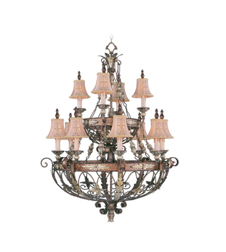 Livex Lighting Pomplano 12 Light Chandelier in Palacial Bronze with Gilded Accents 8848-64 photo