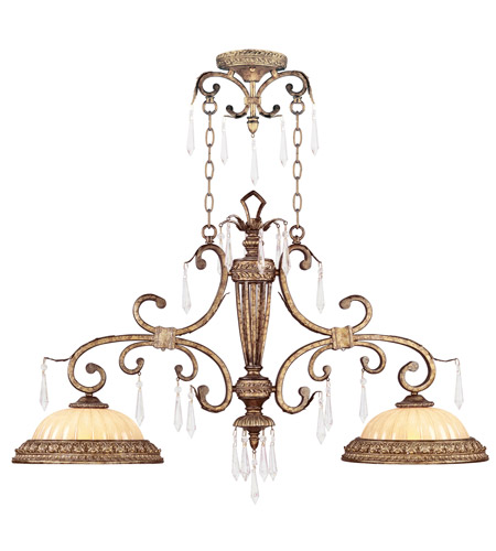 Livex Lighting La Bella 2 Light Island Light in Vintage Gold Leaf 8882-65 photo