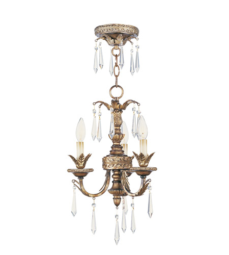 Livex Lighting La Bella 3 Light Mini Chandelier in Vintage Gold Leaf 8893-65 photo