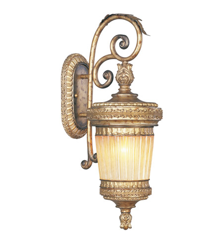 Livex Lighting La Bella 1 Light Outdoor Wall Lantern in Vintage Gold Leaf 8902-65 photo