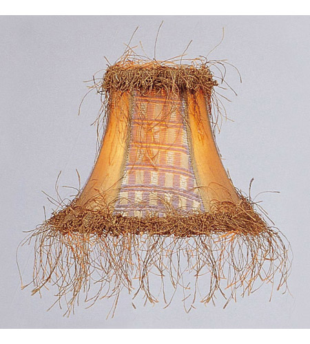 Livex S109 Chandelier Shade Gold Panel Silk Bell Clip Shade with Corn Silk Fringe Shade photo