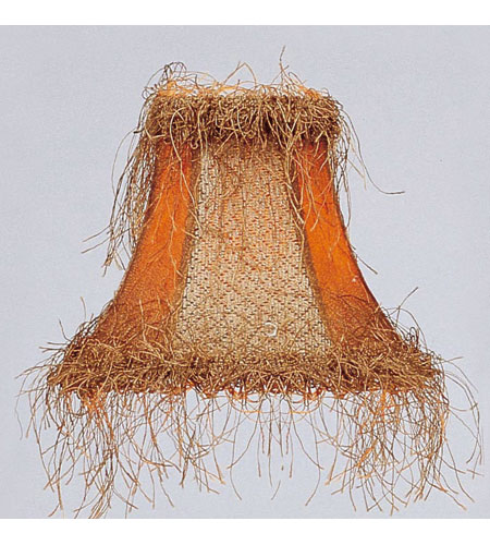 Livex S119 Chandelier Shade Tan/Brown Suede Bell Clip Shade with Corn Silk Fringe Shade photo