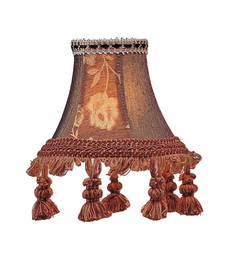 Livex S124 Chandelier Shade Burgundy Floral Bell Clip Shade with Tassels Shade photo